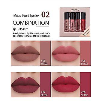 Makeup brushes 4pcs/christmas gift box lip gloss natural moisturizing waterproof velvet lipstick lip glaze|makeup sets
