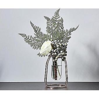 Nordisk stil guldpläterade miljövänliga metalldekorvaser med blommor (Rose Gold 15.5cm2)