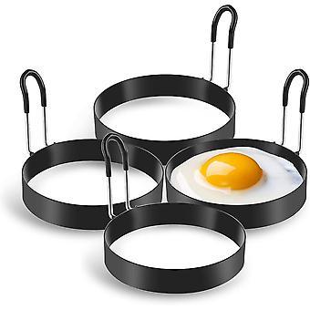 Munarenkaat, 4 pakkausta ruostumattomasta teräksestä valmistettuja munankeittorenkaita, pannukakkumuottia munien paistamiseen ja munakasta