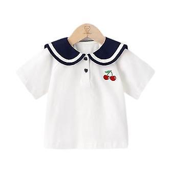 בגדי תינוקות בובה צווארון שרוול קצר חולצת טריקו
