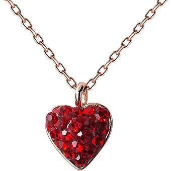 Sterling Silver Chain Red CZ Love Heart Pendant Necklace Lovers  Necklaces|Necklaces
