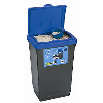 47L Winter Salt Bin Blue Lid for Storage made from Plastic with Scoop