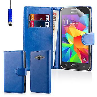 Book leather case + stylus for Samsung Galaxy Core Prime SM-G360 - Deep Blue