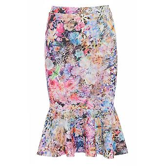 Love2Dress Light Floral Pencil Skirt With Peplum Hem