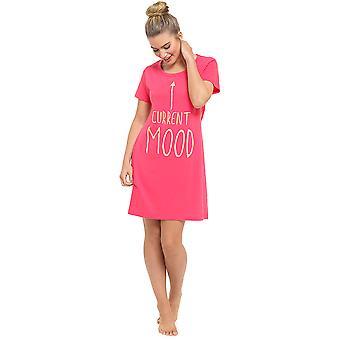 Ladies Fun imprimé manches courtes Jersey chemise de nuit chemise de nuit nuisette Sleepwear