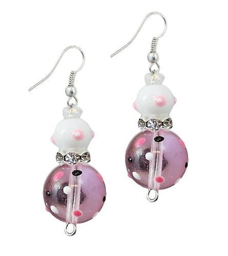 Pink Passion Flip Flops Rhinestone Glass Beaded Kate and Macy Earrings