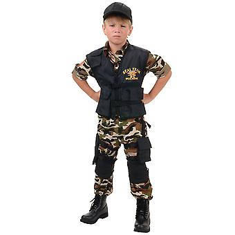 Seal Team Deluxe Military Army Soldier  Uniform Book Week Teen Boys Costume XL