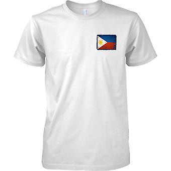 Phillipines Grunge Flagge der Grunge-Effekt - Mens Brust entwerfen T-Shirt