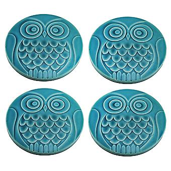 Set of 4 Turquoise Blue Ceramic Owl Stepping Stones 12