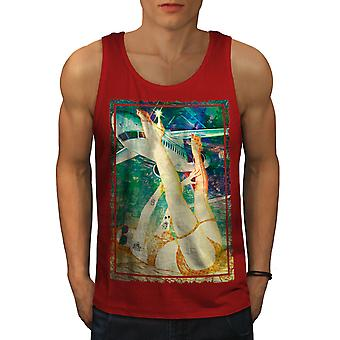 Hot Girl Pilot Legs Men RedTank Top | Wellcoda