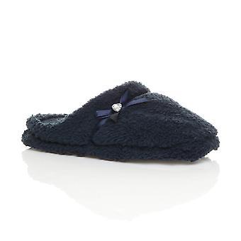 Ajvani womens fiocco cuore gioiello invernale in pile pelliccia pantofole antiscivolo sui muli