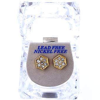 Iced out bling øreringe box - seks vinkel guld