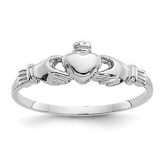 14k Hvidguld Satin poleret til drenge eller piger Claddagh Ring Størrelse 4 - 1,1 Gram