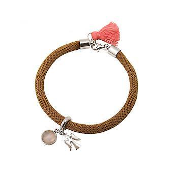 Mulheres - pulseira - 925 de prata - pedras preciosas - quartzo rosa - Angel - rosa - marrom