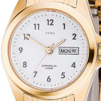JOBO ladies wrist watch quartz analog stainless steel gold plated date watch