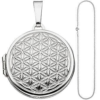 Medaglione tondo ciondolo fiore della vita all'aperto 925 argento catena 60 cm