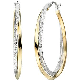 Hoops bicolor engulfed 925 sterling silver gold-plated earrings