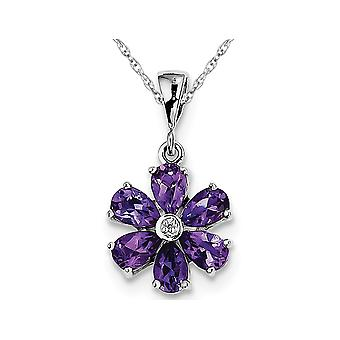 Amethyst Flower Pendant Necklace in Sterling Silver 2.25 Carat (ctw)