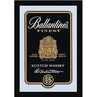 Ballantine's mirror Scotch whiskey wall mirror with black plastic framing wood