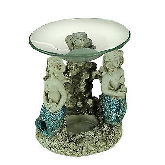 Blå Glitter svans sjöjungfrur värmeljus olja varmare
