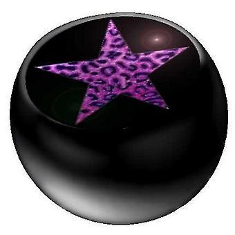 Piercing ersättare boll svart, kropp smycken, lila Leo Star | 1,6 x 5 och 6 mm