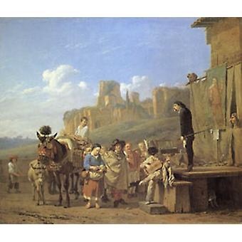 A Party of Charlatans in an Italian landscape, Karel Dujardin, 60x50cm