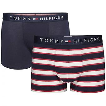 Tommy Hilfiger Boys 2 Pack Icon Boxer Trunk, Tango Red / Navy Blazer Stripe, Medium