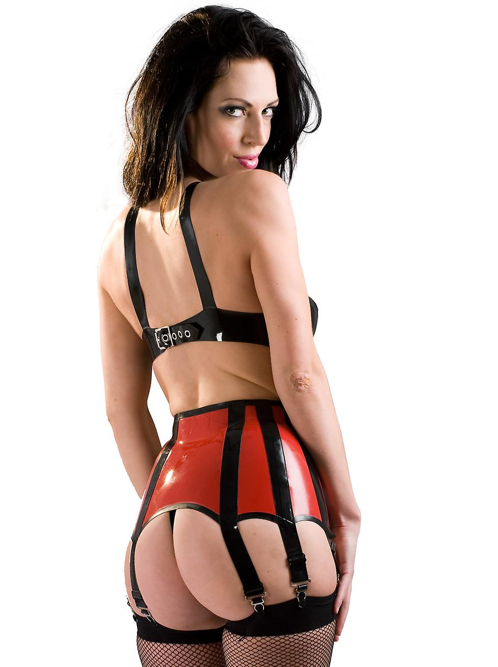 Skin Two Clothing Women's Kinky Suspender in Rubber Black & Red