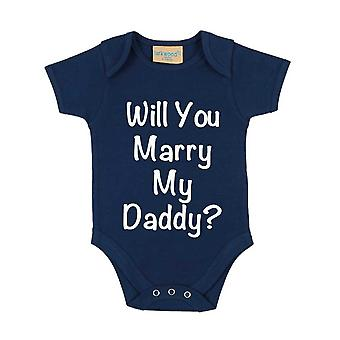 Will You Marry My Daddy? Navy Blue Short Sleeve Baby Grow