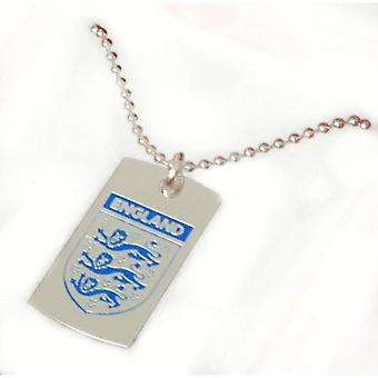 Official England Crest Hologram Gents Silvertone Metal Dog Tag on a 21