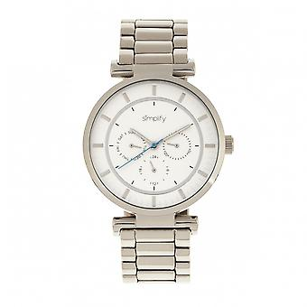 Simplify The 4800 Bracelet Watch w/Day/Date - Silver/White