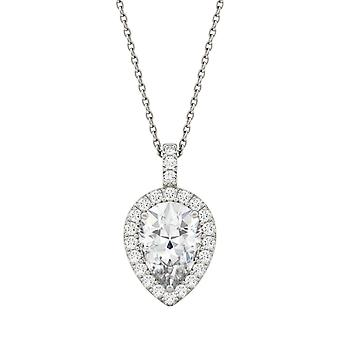 14K White Gold Moissanite by Charles & Colvard 10x7mm Pear Pendant Necklace, 2.45cttw DEW