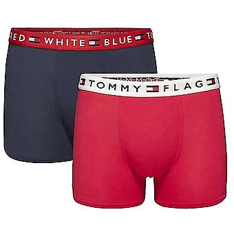 Tommy Hilfiger Boys 2 Pack REMIX Boxer Trunk, Tango Red / Navy Blazer, Medium