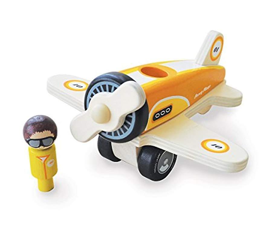 Indigo Jamm Percy vliegtuig, Retro houten speelgoed vliegtuigen voertuig met draaiende Propeller en verwisselbare Pilot
