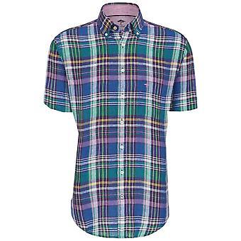 FYNCH HATTON Fynch Hatton Check Linen Short Sleeve Shirt