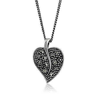Art Nouveau Style Round Marcasite Leaf Swirl Pendant Necklace in 925 Sterling Silver 214N524601925