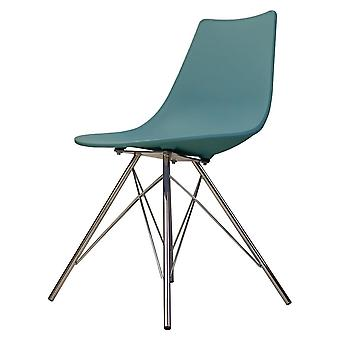 Fusion Living Iconic Teal Plastic Dining Chair With Chrome Metal Legs