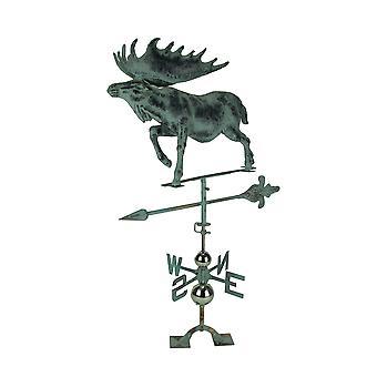 Verdigris Patina Metal Bull Moose Weather Vane avec toit Mount