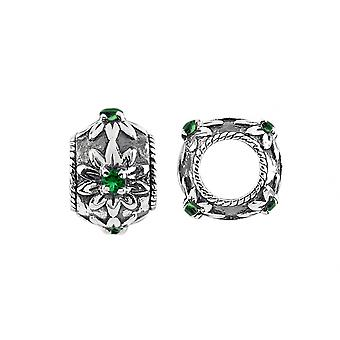 Storywheels Silver & Chrome Diopside Blossom Charm S439CHDI