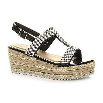 Ajvani naisten kiila kantapää strappy Platform Diamante espadrille tasainenmuodossa sandaalit