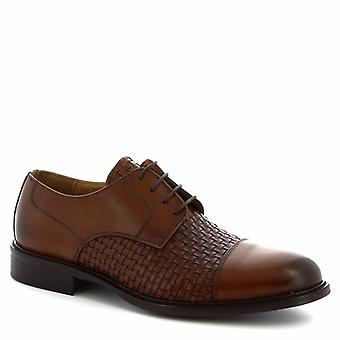 Leonardo Shoes Men's handmade lace-ups smart shoes in tan woven calf leather