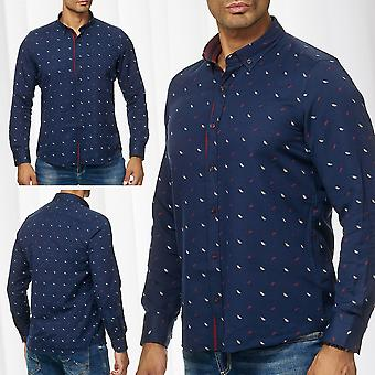 Men's Shirt Casual Long Sleeve Pattern Button Down Collar Classic Business Slim