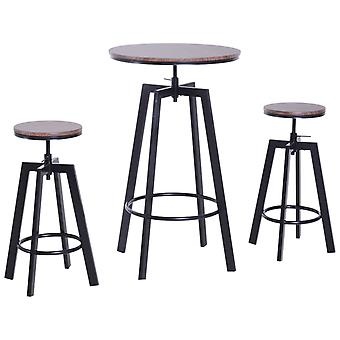 HOMCOM 3 Pieces Bar Table 2 Stools Set Steel Round Dining Chairs Adjustable Height Wooden Top Kitchen Pub