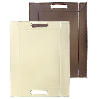 FreeForm Reversible Brown/Cream Faux Leather Medium Tray, 55 x 41cm