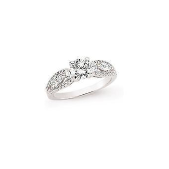 Jewelco London Rhodium Plated Sterling Silver Round Brilliant Cubic Zirconia Solitaire Engagement Ring