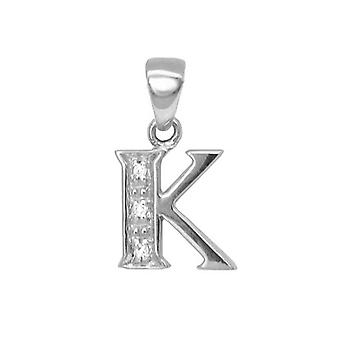 Jewelco London 9ct White Gold Pave Set Round H I2 0.02ct Diamond Identity Dainty Initial ID Charm Pendant Letter K