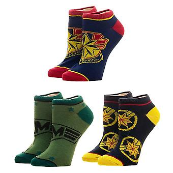 Captain Marvel 3 Pack Socks