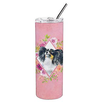 Papillon Pink Flowers Double Walled Stainless Steel 20 oz Skinny Tumbler