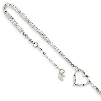 14k Biele zlato Leštený nastaviteľný pružinový krúžok Double Strand Love Heart Anklet Šperky darčeky pre ženy - Dĺžka: 9 až 10