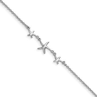 925 Sterling Silver Spring Ring Rhodium-plated 10 + 1inch Ext Three Stars Anklet - 2.2 Grams